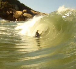 Bodyboarding the rock