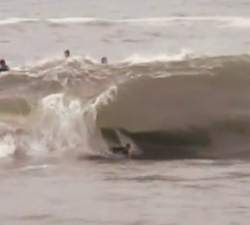 bodyboarding the rock