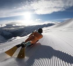 snow bodyboarding